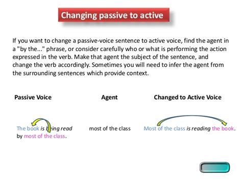 pattern of changing active to passive voice active passive voice