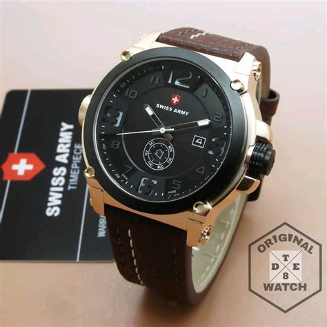 Jam Tangan Pria Swiss Army Date Smile Leather Brown Murah jual new jam tangan pria original swiss army leather