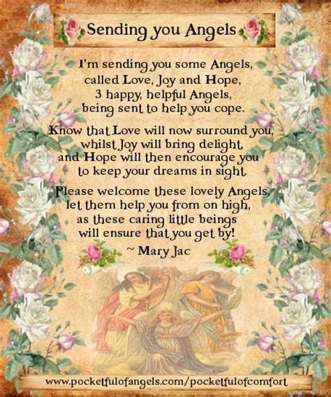 comforting love poems sending you angels the poem of love joy and hope from
