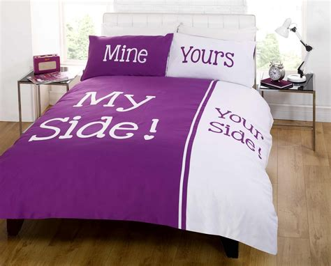 on your side of the bed my side your side double king size duvet cover bed set
