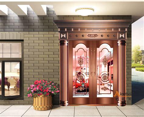 modern house front door design double tempered glass pure copper door villa entry exterior door