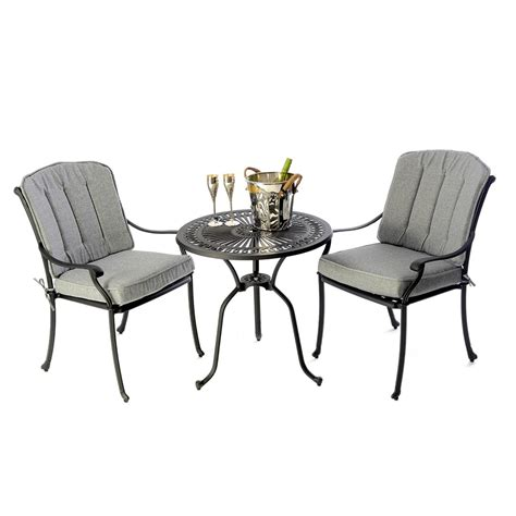 Black Bistro Table And Chairs Cast Aluminium Bistro Table 28 Inch With 2 Venetian Chairs Black Regatta Garden Furniture Essex