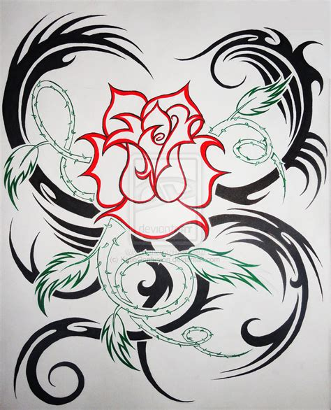 tribal tattoo with rose tattoos tribal hearts and roses
