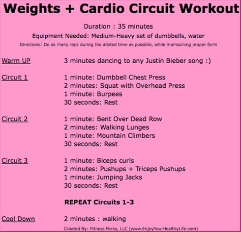 35 minute cardio weights workout circuit