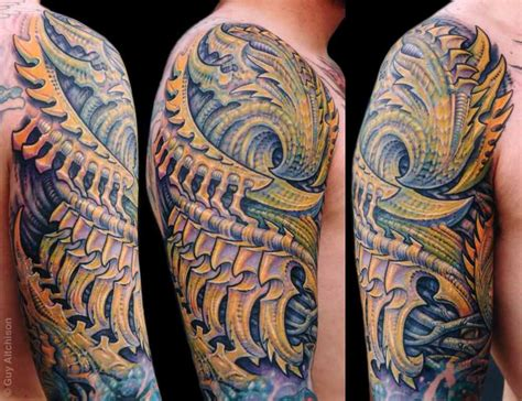 biomechanical tattoo guy aitchison half sleeve biomechanican tattoo by guy aitchison design