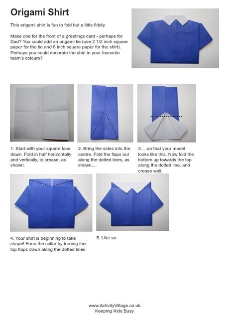 How To Fold Paper Shirt - origami shirt