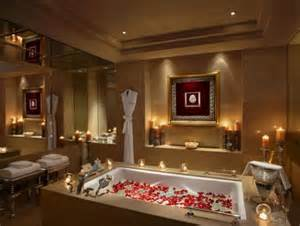 romantic bathroom design with big mirror and mood lighting decoration ideas for valentinea day