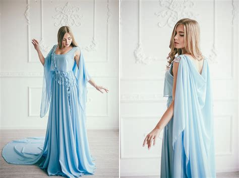nontraditional bridesmaid chagne and blue serenity sky blue wedding gown colored wedding dress