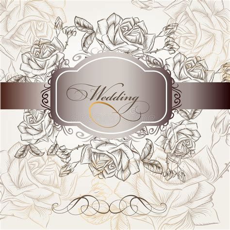 fashion elegant background with hand drawn flowers royalty wedding invitation in elegant style with roses stock
