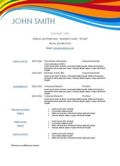 free colorful resume templates free modern resume template