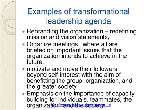 exle of leadership transformational vs transactional leadership