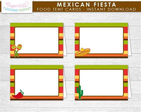 food tent cards template mexican theme blank food tent cards cinco de mayo