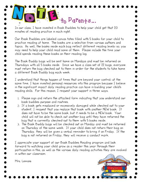 Parent Letter Beginning Of School Year Step Into 2nd Grade With Mrs Lemons Book Buddies
