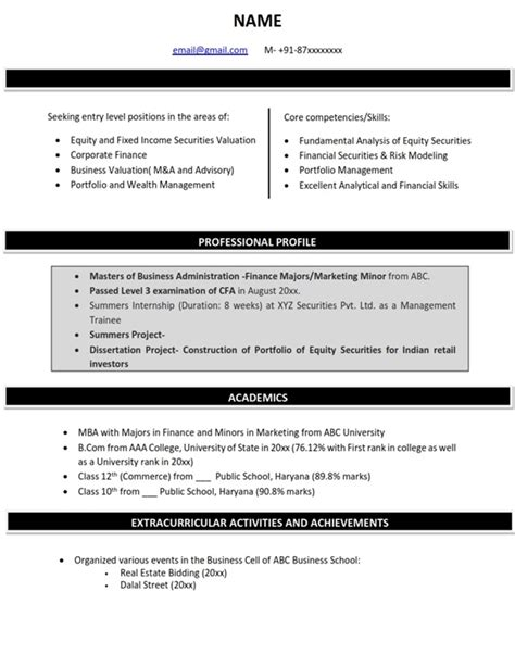 Mba In Banking Profile by Resume Cv Sle Format Finance Majors Mba Skool Study