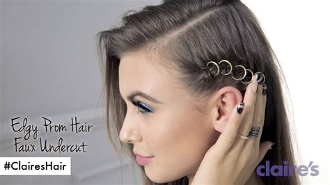 shaved side prom hairstyles faux undercut edgy prom hair how to claire s youtube