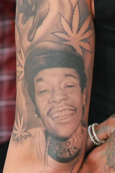 wiz khalifa face tattoos pot leaf tattoos style