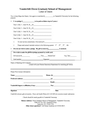 Vanderbilt Owen Mba Deadlines by Letter Of Intent Graduate School Forms And Templates