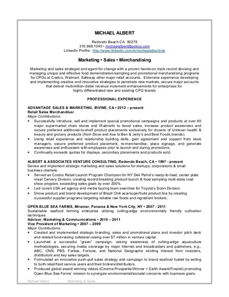 Resume Sles Profile by M Albert 2015 Marketing Sales Resume