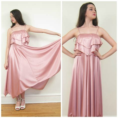Pretty In Pink Retro Silk Dress by Vintage 1970s Pink Satin Dress 70s Disco Dress
