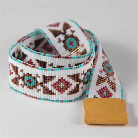 indian beaded hat band gallup beaded cowboy hatband bead loom by puebloandco