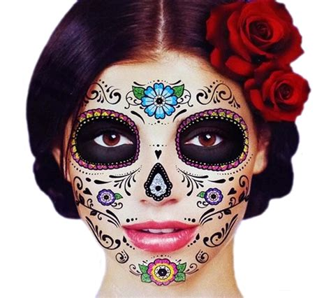 day of the dead temporary tattoos glitter floral day of the dead sugar skull