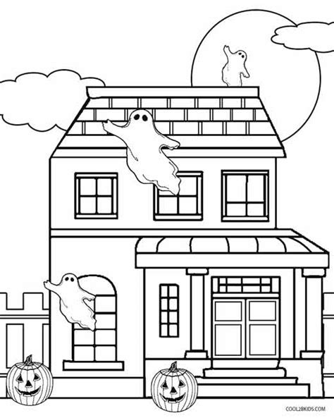 Printable Haunted House Coloring Pages For Kids Cool2bkids Haunted House Colouring Pages