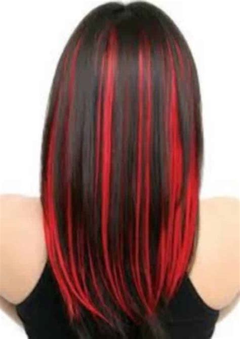 pictures of sapphire black hair with red highlights lyse striper m 248 rkt h 229 r frisyre