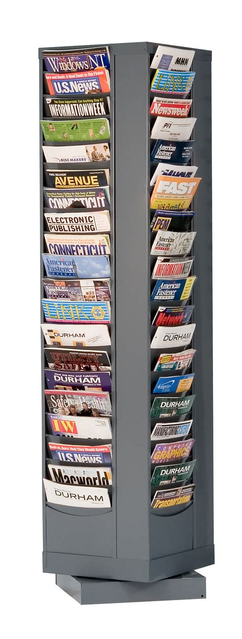 Rotating Magazine Rack by 80 Pocket Revolving Literature Displays Metal Magazine