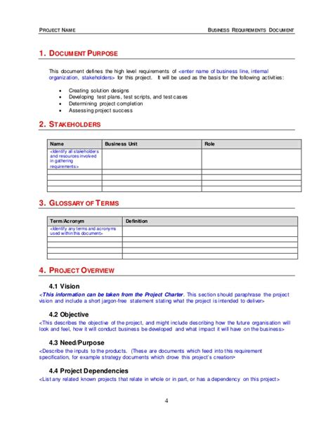 brd business requirements document template business requirements document template