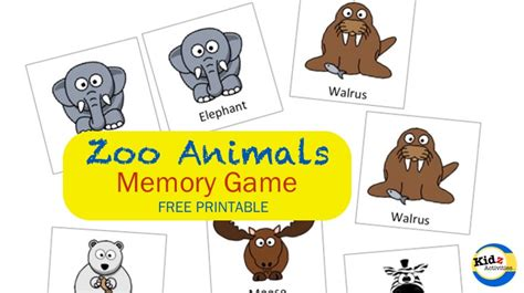 printable zoo animal matching game zoo animals memory game kidz activities