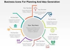 business icons for planning and idea generation flat