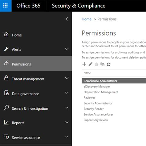 Office 365 Roles Permissions In The Office 365 Security Compliance Center