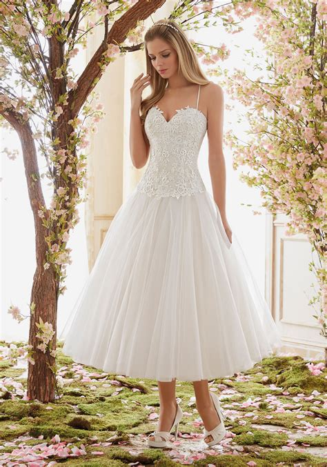 Length Wedding Dress by Tulle Tea Length Wedding Dress Skirt Style 6843 Morilee