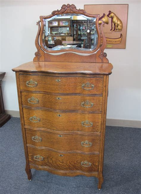 antique tall boy dresser with mirror quartersawn oak oren hooper s sons highboy dresser