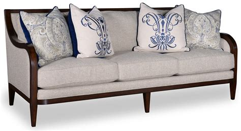 sofa with wooden arms and legs a r t furniture inc bristol 3 seat sofa with tapered legs