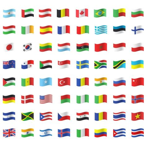 flags of the world eps free download waving flag icon collection vector free download