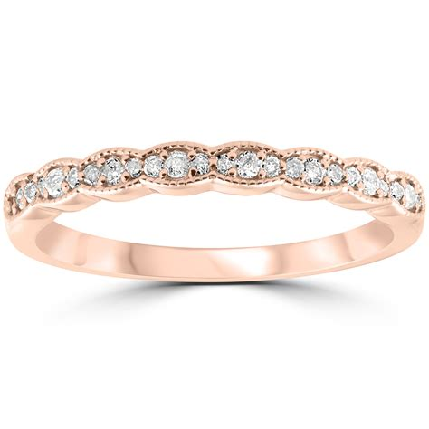 cttw diamond stackable womens wedding ring  rose gold