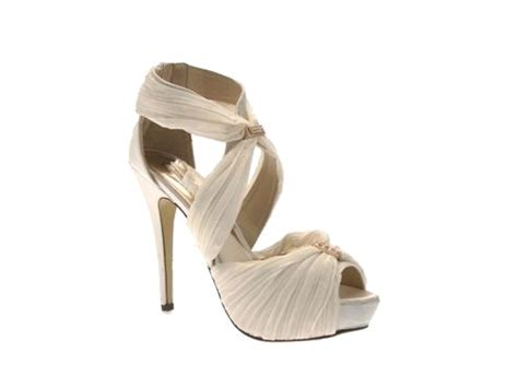 womens chiffon stiletto platform wedding bridal shoes