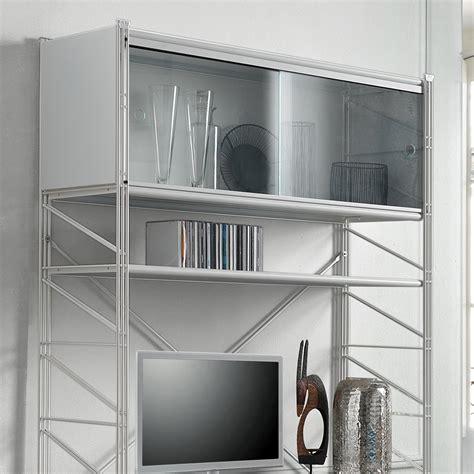scaffali ripostiglio cheap libreria scaffale per soggiorno in acciaio bianco x