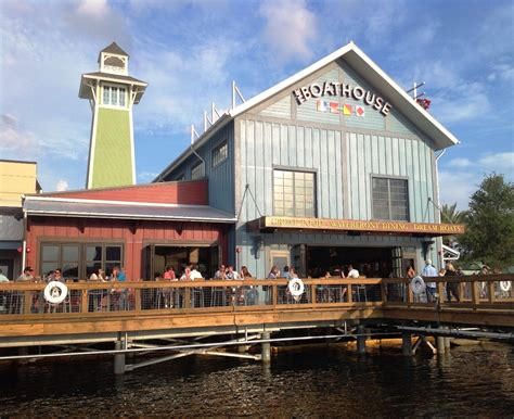 the boat house restaurant the boathouse restaurant opens on lake buena vista florida classic boats woody boater
