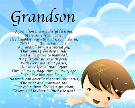 Happy Birthday Grandson Quotes Personalised Grandson Poem Birthday Christmas Christening