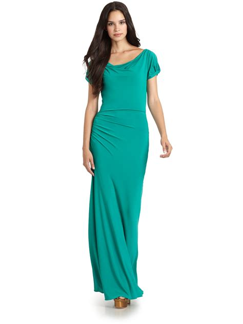 draped maxi dresses bcbgmaxazria draped maxi dress in green teal lyst