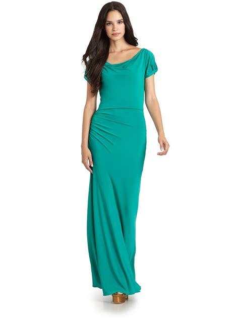 draped maxi dress bcbgmaxazria draped maxi dress in green teal lyst