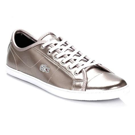 lacoste womens shoes lacoste womens gold metallic ziane prc trainers 840 ars