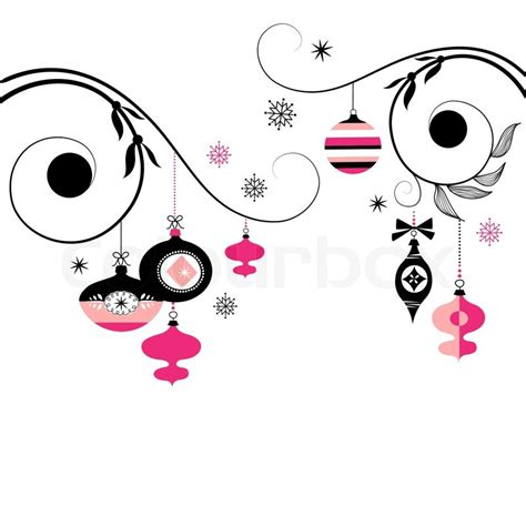 black and pink christmas ornaments stock vector colourbox