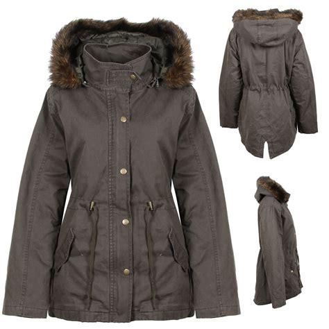 warm coats new womens green khaki parka winter coat jacket warm fur trim detachable ebay