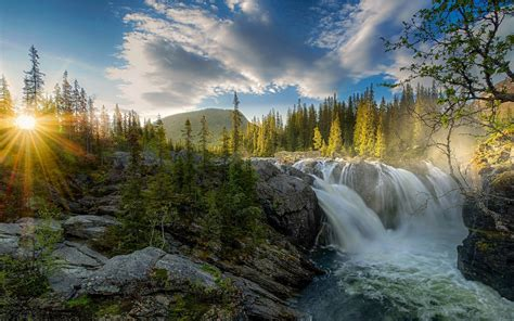 waterfall sunset river forest sky nature landscape