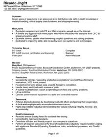 Sle Resume For Warehouse Keeper Assembly Worker Resume Sales Worker Lewesmr