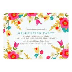 country flowers graduation party invitation card