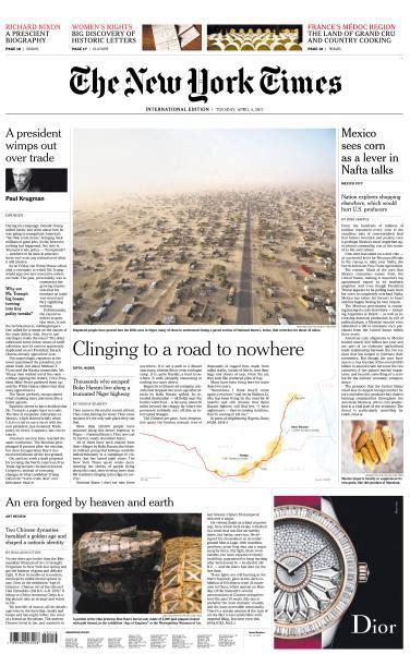 Pdf Free New York Times by International New York Times 4 April Pdf Free